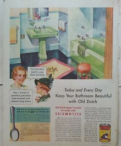 1936 Old Dutch cleanser green bathtub sink bathroom design vintage ad
