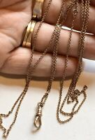 "Delicate Gold Fill Watch Chain Necklace. 50"" Victorian Chain. Swivel Clip"
