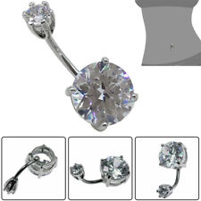 Clear Double CZ Crystal Prong Set Belly Button Navel Ring Body Piercing Barbell