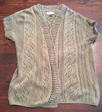 Sonoma Womens Knit Top Cotton/Acrylic Open Cardigan Sweater Sz L Green