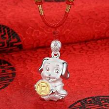 Lucky Coin Fortune Puppy Necklace Gold Plated Zodiac Dog Pendant With Red Rope