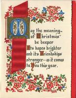 VINTAGE CHRISTMAS ORNAMENTAL BLUE GOLD RED SCROLL DESIGN RIBBON GREETING CARD
