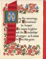 VINTAGE CHRISTMAS ORNAMENTAL BLUE GOLD RED SCROLL DESIGN RIBBON GREETING CARD