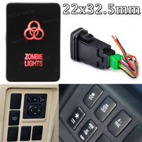 32.5mmx22mm Push Switch RED Dual LED ZOMBIE LIGHTS 12V For Toyota Tundra 4Runner