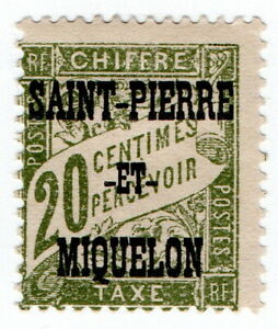 (I.B) France Colonial Postal : Postage Due 20c (Saint Pierre et Miquelon)