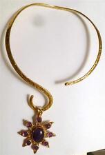 Large Amethyst Pendant Brass, Copper & German Silver w/Brass Neckwire