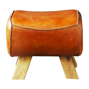 Wooden Leather Foot Stool Goat Tan Leather / Premium Quality Pommel Low Horse