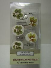 Avanti Linens 13670Givr Foliage Garden 12 Shower Hooks, Medium, Ivory