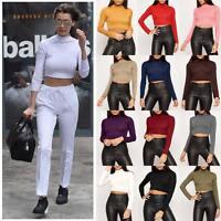 Womens Turtle Neck Crop Top Ladies Long Sleeve Polo Short Dance Stretch Vest Tee