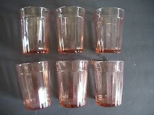 "6  Vintage Pink Depression Glass Tumblers 4"" tall vertical rib"