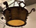 Antique Hammered Brass Gothic Hanging Ceiling Fixture Chandelier SALVAGED PART