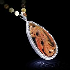 """Hand Carved Dragon 23"""" Silver Necklace DD303001"""