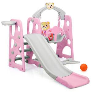 4 in 1 Kinder Spielplatz Kinder Rutsche Kletterleiter&Schaukel&Basketballkorb