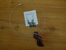 Murano Kette Anhänger bunt Modeschmuck Glasschmuck Kette mit Drahtreif Ohrhänger