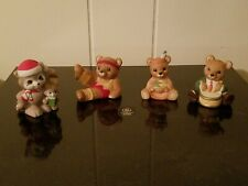 Home Interior Homco Set Of 3 Bears and 1 Racoon Figurines Collectible