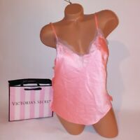 Victoria Secret Camisole Tank Top XL Orange Beige Lace Trim Satin Sleepwear