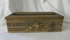 Vintage Gold tone Metal Filigree Tissue Box Kleenex Cover Holder Raised Rose