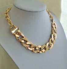 Modern Chunky Gold Link Chain Statement Necklace with Diamante and Crystal Gift