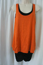 B44 Dressed Dress Sz S Orange Black Sleeveless Ruched Sides Cocktail Party Dress