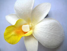 Hawaii Bridal Wedding Party Orchid Flower Hair Clip ~ WHITE w/ YELLOW (QTY 2)