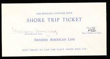 Swedish American Line Shore Trip Ticket Envelope
