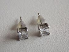 Believable CZ & Sterling Silver Small Square Stud Earrings for Pierced Ears