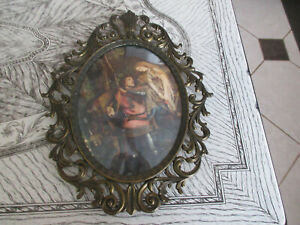 Vintage Gold Gilt Oval Brass Hanging Picture Frame with Print Italy