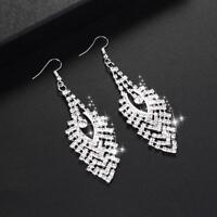 Women Lady Rhinestone Crystal Dangle Chandelier Long Drop Earrings Bridal BL3