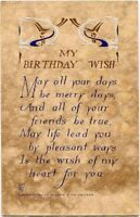 Antique VOLLAND ARTS & CRAFTS Birthday Wish Postcard~ #763~Blue~GOLD Detail