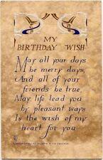 Antique VOLLAND ARTS & CRAFTS Birthday Wish Postcard~ #763~Blue~GOLD Detail
