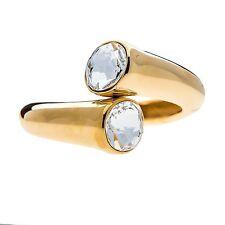 Kenneth Jay Lane Polished Gold bracelet with faceted crystal ends 6312BPGC