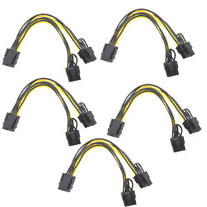 5PCS 6 pin to Dual 8 Pin (6+2Pin) PCI-E Cable 18AWG Mining Power Splitter Cable