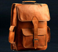Men's Backpack Genuine Leather Vintage Laptop Rucksack Messenger Bag Satchel NEW