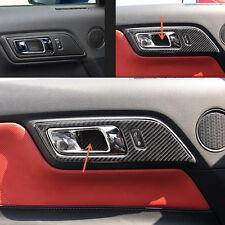 2pcs Carbon fiber Interior door hole Frame trim for Ford Mustang 2015-2017