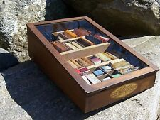 Antique Music String Counter Store Cabinet Display Case Violin Guitar Banjo Rare