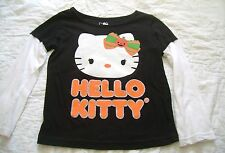 Girls HELLO KITTY Halloween Shirt Top Black PUMPKINS L/S Sz 5T SPARKLES Bows