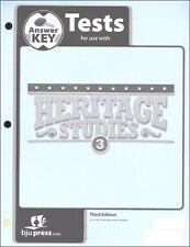 BJU Press - Heritage Studies 3 Tests Answer Key- 287326