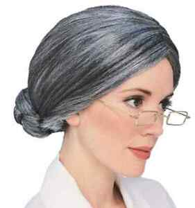 Old Lady Wig Woman Grey Gray Fancy Dress Up Halloween Adult Costume Accessory