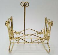 Vintage Brass Bed Cradle Miniature Dollhouse Furniture Rocking Crib Cradle NIP