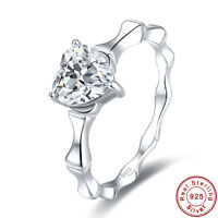 2.14CT Heart Cut Gift White Topaz 100% 925 Sterling Silver Ring Size L½ N½ P½ R½