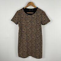 Sportsgirl Womens Dress XS Multicoloured Leopard Print Short Sleeve Round Neck