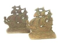 Vintage Cast Iron Clipper Ship Sailboat Bookends Pair or a Metal Door Stop