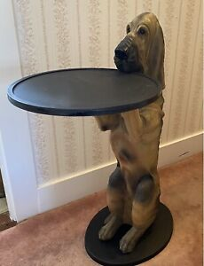 1998 BOMBAY Company Sir Hawthorne Hound Dog Butler Serving Tray Table - Retired