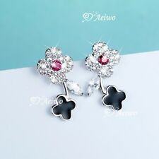 925 sterling silver simulated diamond stud earrings clover flower small cute