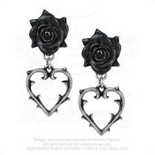 Alchemy of England Wounded Love Dangle Earrings with Black Rose and Heart