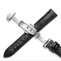 14-24mm Mens Wrist Genuine Leather Replacement Watch Band Strap Deployant Clasp