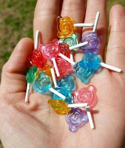 Kawaii Mini Doll Sweet Candy Lollipop Craft Flat Jewelry Bear (6 Lot) Bead Resin