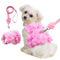 Small Dog Harness and Leash Fancy Flower Vest Pink for Pet Cats Puppy Chihuahua