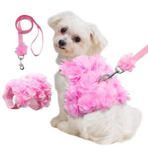Pink Flowers Small Dog Vest Harness and Leash for Girl Dogs Pet Puppy Cat Yorkie