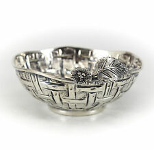 Continental .900 Silver Basket Bowl. Raised and repousse basket weave design